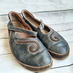 NAOT Brown leather suede flats shoes Mary Janes